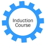 Wheel with cogs illustration marked Induction Course